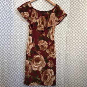 🌞 Lovely Cecy burgundy rose floral stretch dress